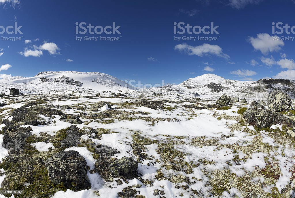 First snow of the season in the Jotunheimen National Park royalty-free stock photo