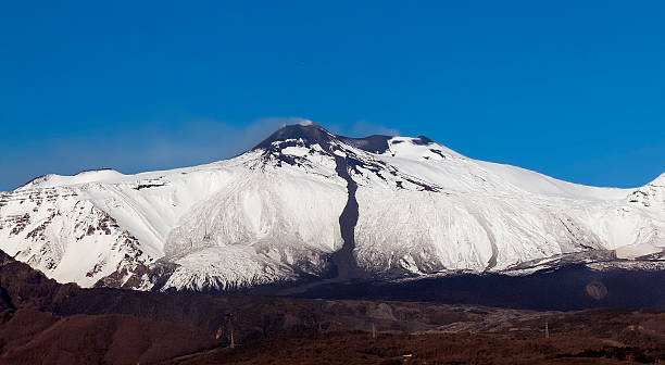 First snow on Etna stock photo