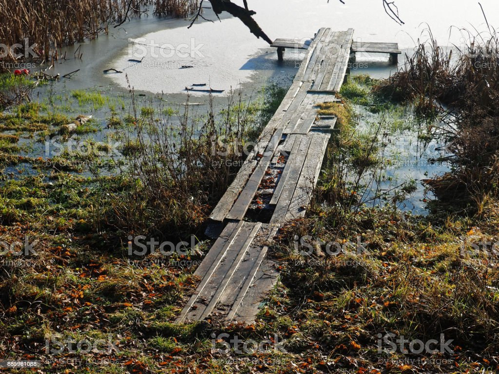 First Snow On Wooden Bridge Stock Photo Download Image Now Istock