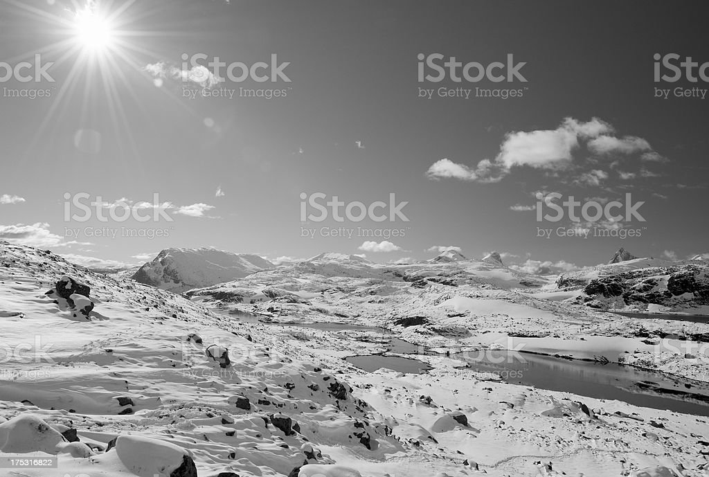 First snowfall in the high mountains of Jotunheimen National Park royalty-free stock photo