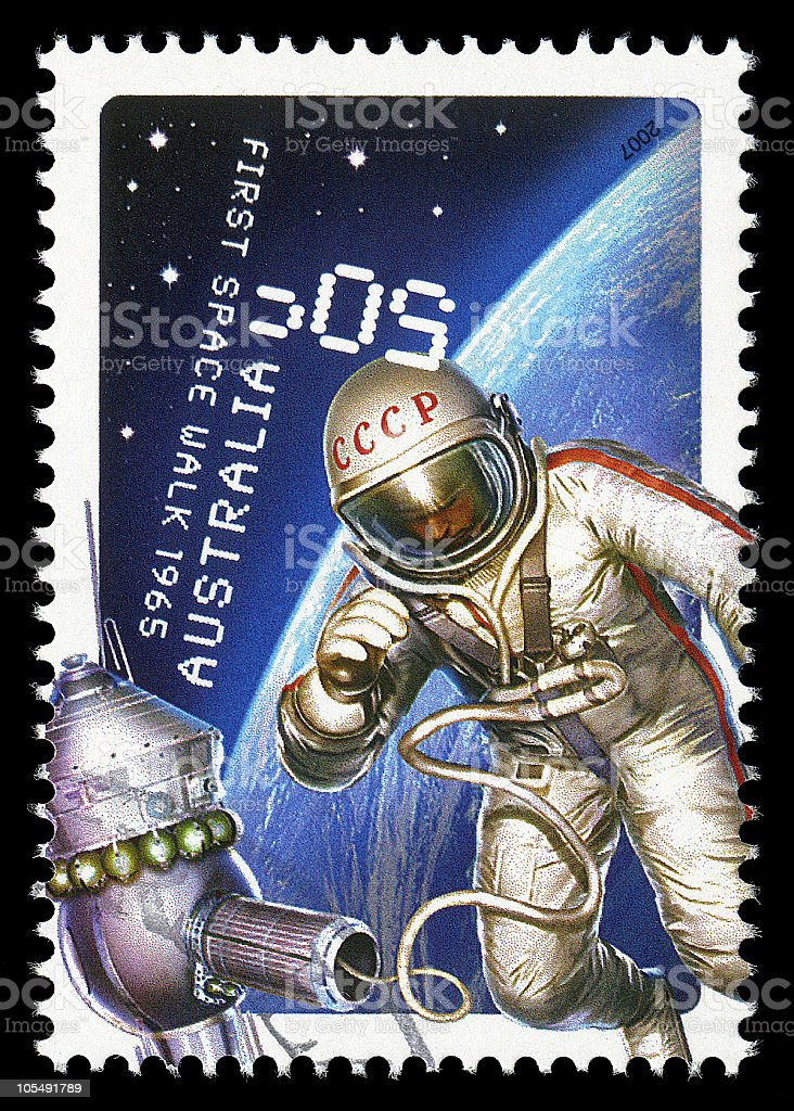 First Space Walk Stamp stock photo