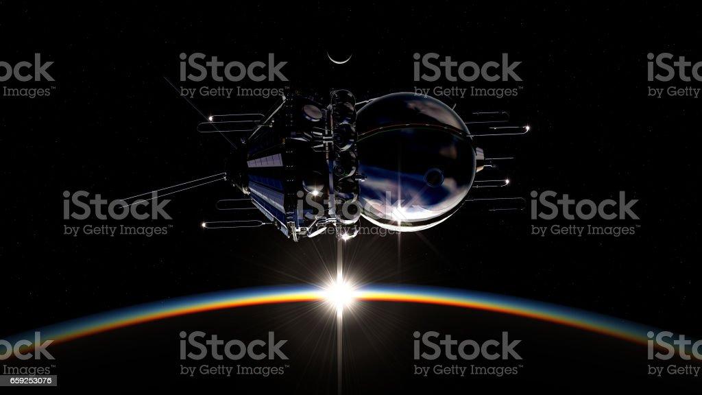 First spaceship on the orbit stock photo