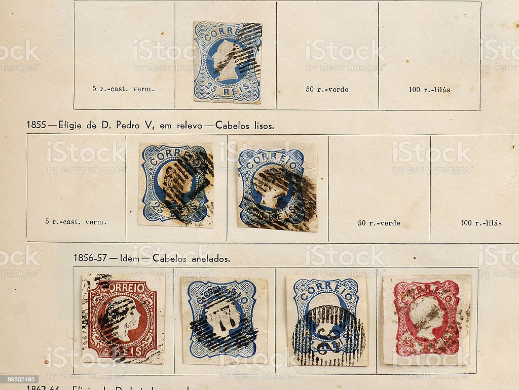 First stamps on Portugal -1855 royalty-free stock photo