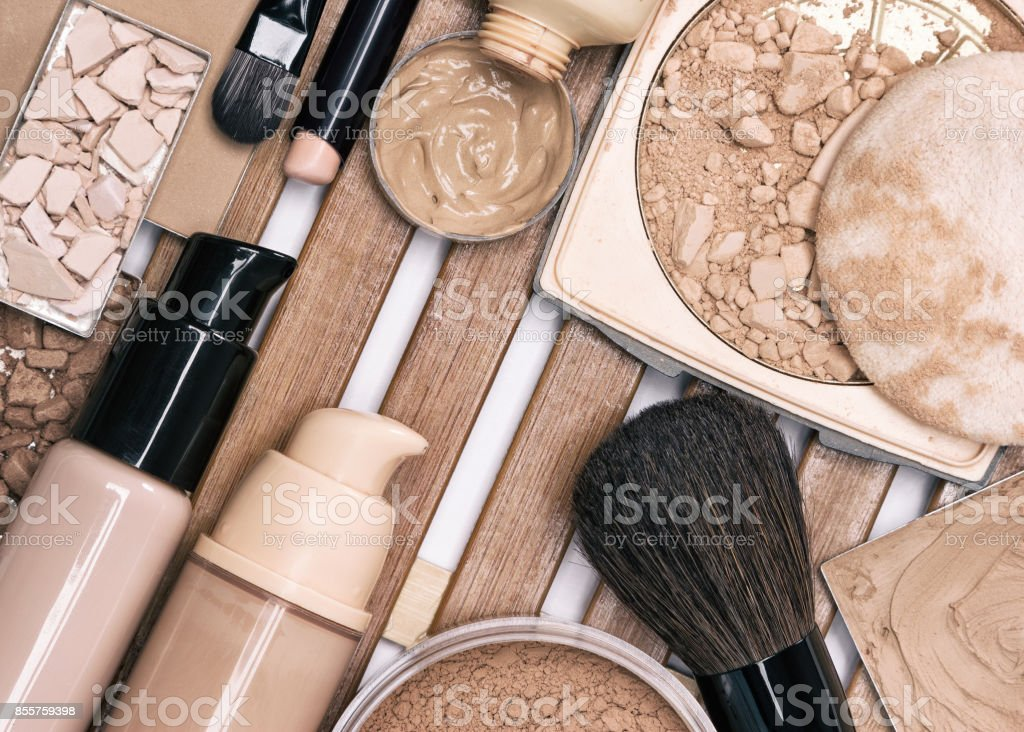 First step of makeup application - foundation products stock photo