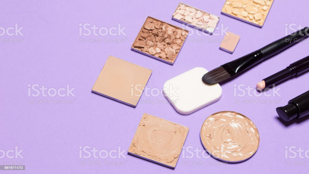 First step of makeup - foundation products with copy space stock photo
