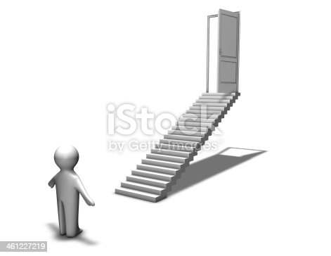 513121118istockphoto first step to career, abstraction with 3d man and stairs 461227219