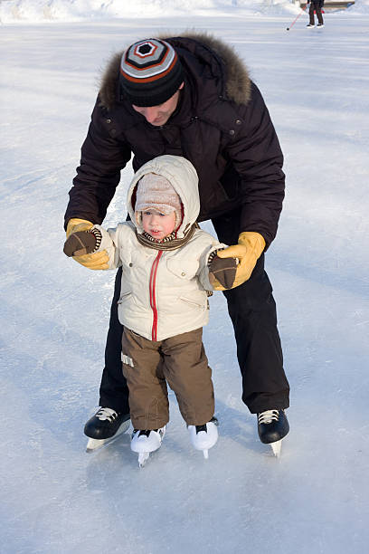 First steps on the rink stock photo