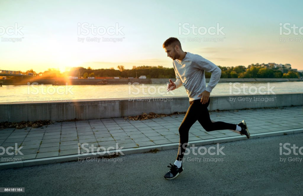 First sun for runner royalty-free stock photo