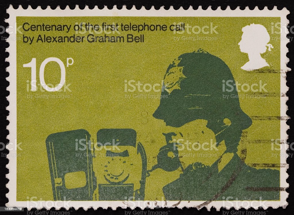 First telephone call postal stamp stock photo