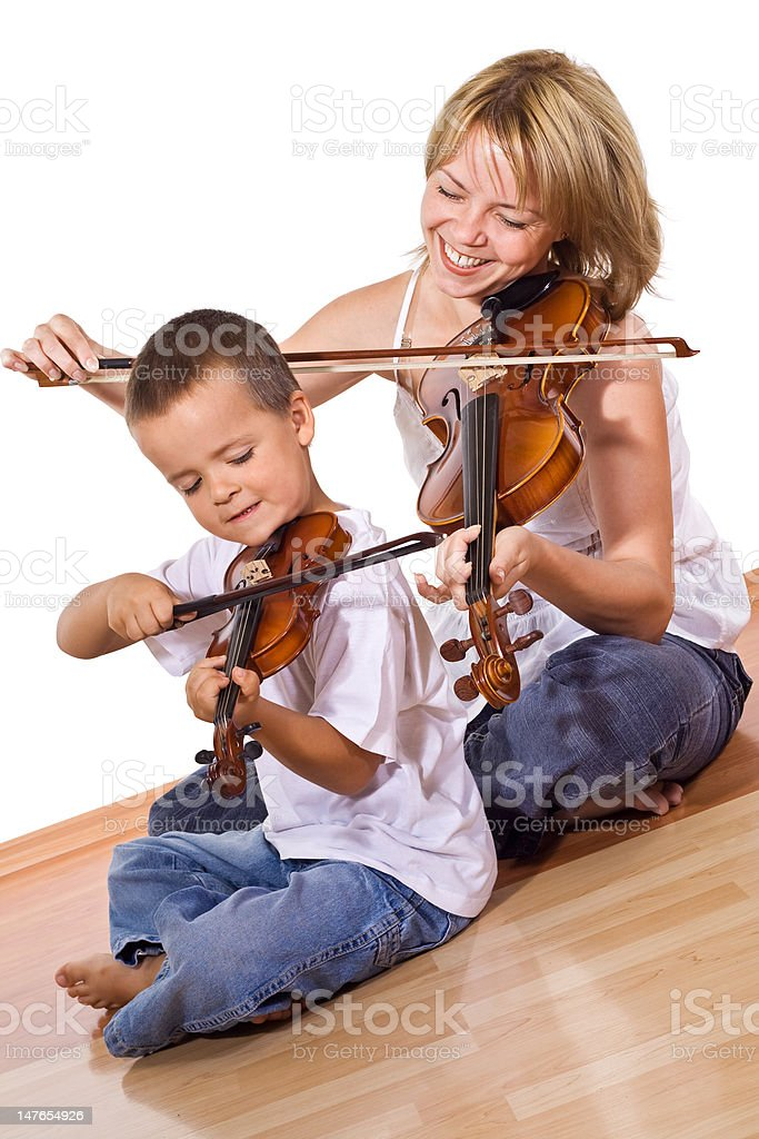 First time practicing the violin royalty-free stock photo