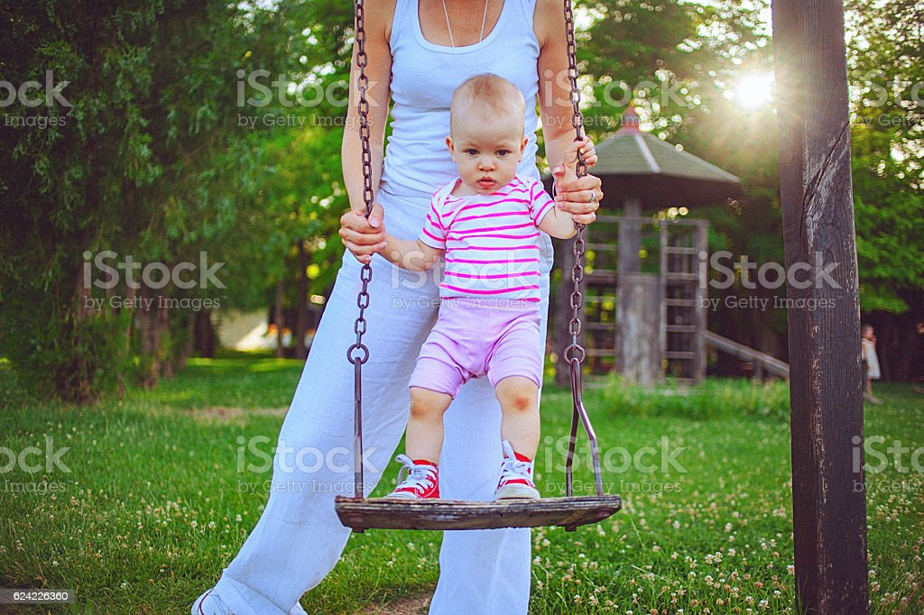 First time swinging royalty-free stock photo