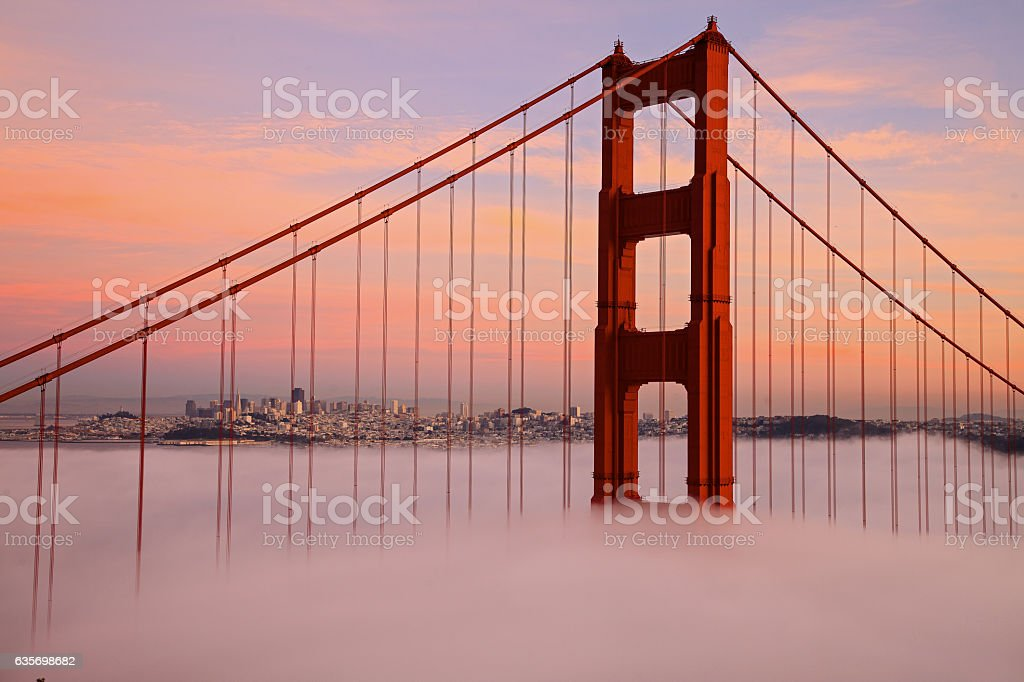 First Tower of the Golden Gate Bridge in Fog royalty-free stock photo