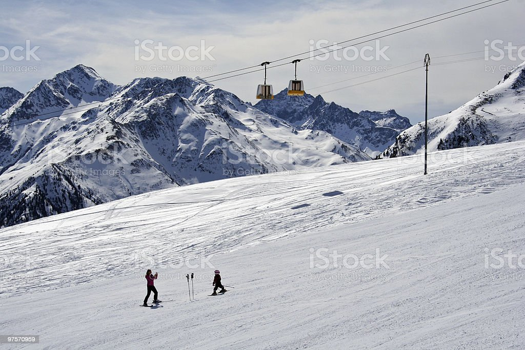 first turns on skies royalty-free stock photo