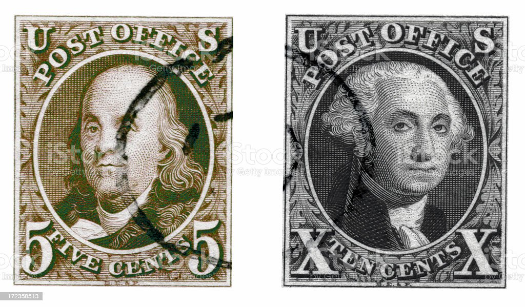 First Two US Postage Stamps royalty-free stock photo