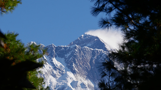 First view of the peak of mighty Mount Everest (summit: 8,848 m) on Everest Base Camp Trek through a gap between trees on the ascent to Namche Bazar in the Himalayas, Nepal.
