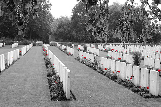 First World War cemetery in Belgium Flanders stock photo