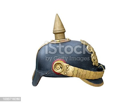 first World War spiked helmet isolated over white