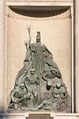 Neptune statue closeup. Fountain of Neptune located near Piazza Maggiore in Bologna.