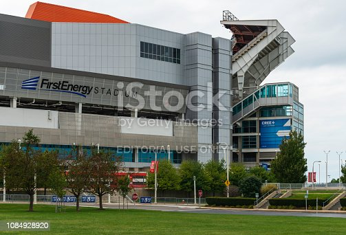 The FirstEnergy Stadium in Cleveland, Ohio. It is a multi purpose stadium located on the shores of Lake Erie and home to the NFL Football team Cleveland Browns.