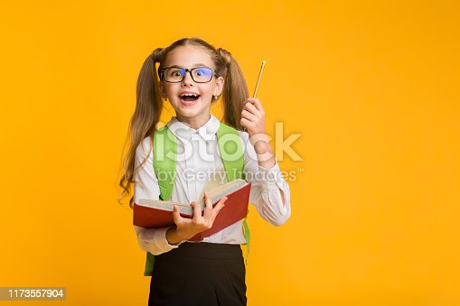1176772377 istock photo First-Grade Schoolgirl Holding Book And Pencil On Yellow Studio Background 1173557904
