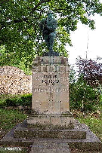 Buzau, Romania - June 29, 2019: Firsts World War Heroes Monument in Sarata Monteoru, Buzau, Romania.