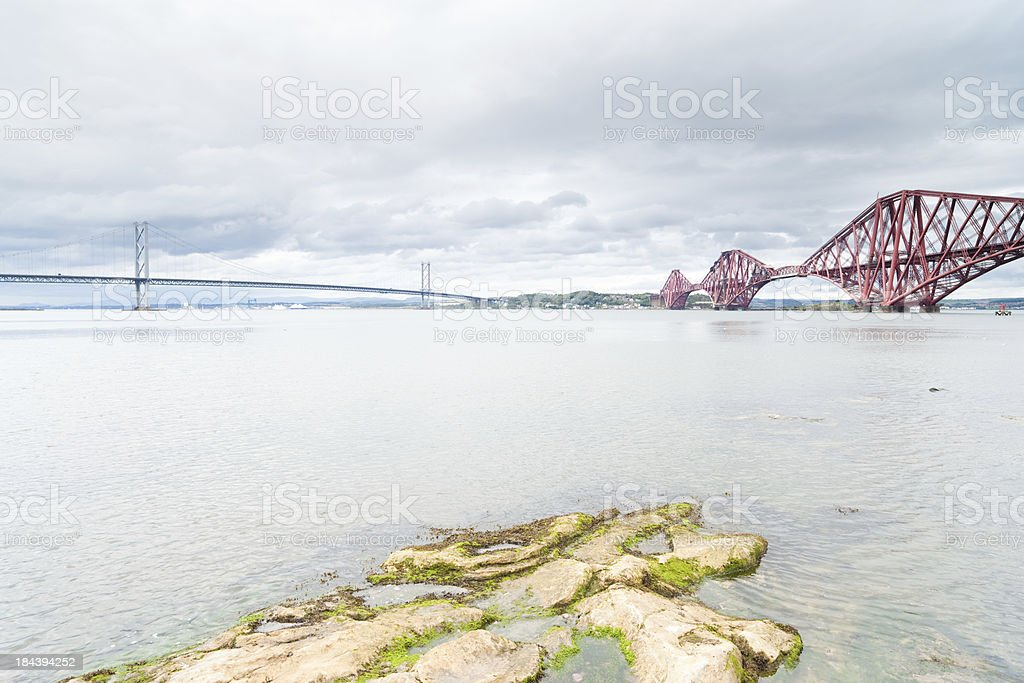 Firth of Forth rail and road bridges, Scotland royalty-free stock photo