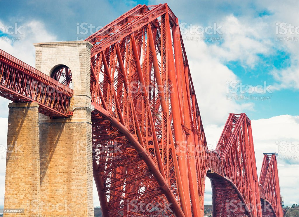 Firth of Forth Rail Bridge detail stock photo