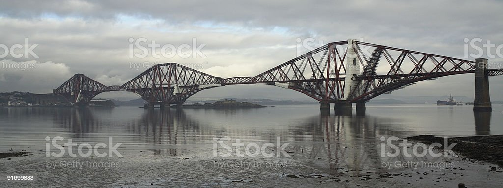 Firth of Forth rail bridge panorama royalty-free stock photo