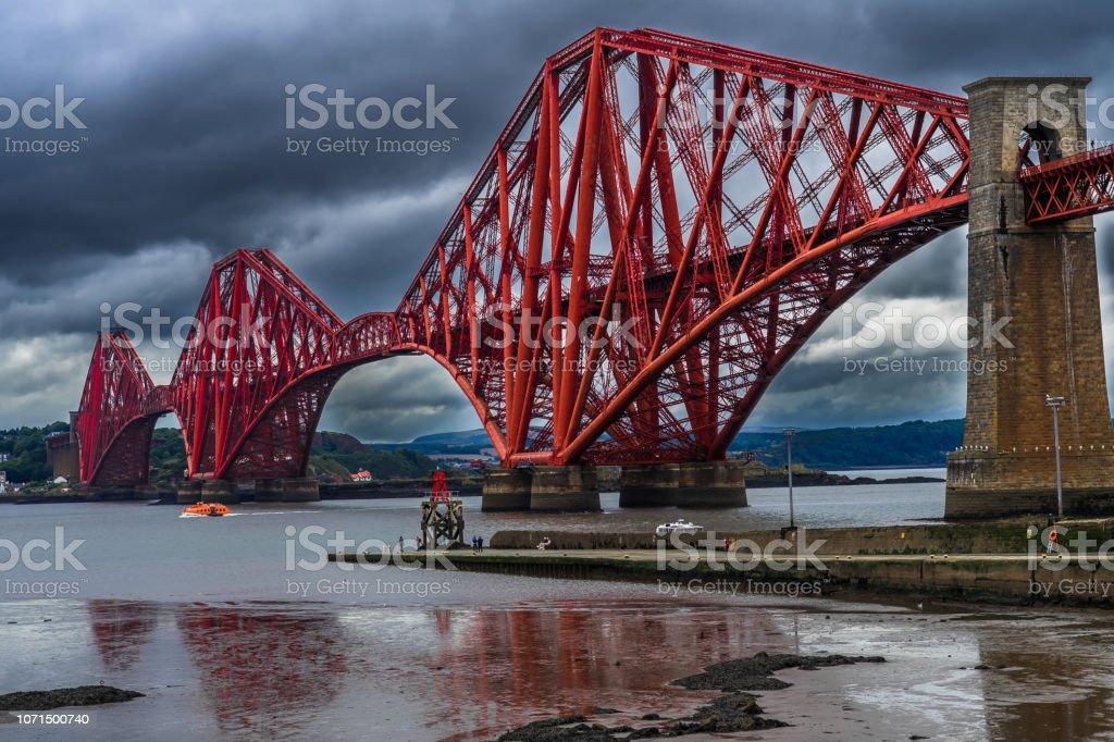 Firth Of Forth Railway Bridge Near Edinburgh in Scotland stock photo