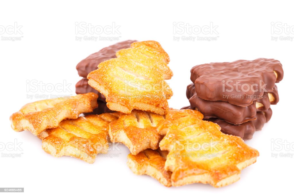 Fir-tree shape cookies stock photo