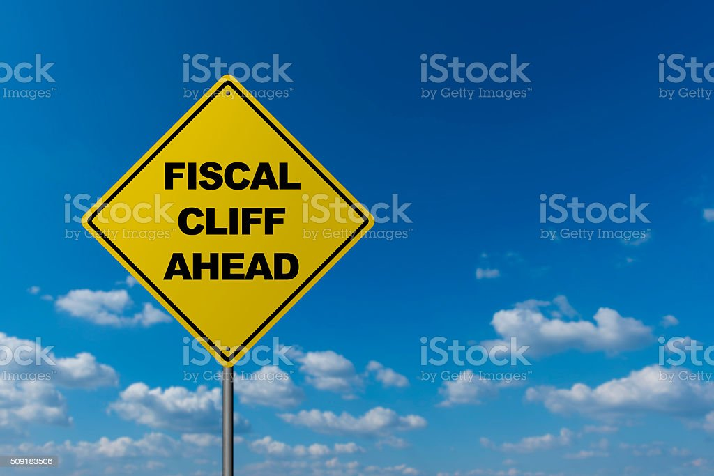 Fiscal Cliff Ahead stock photo