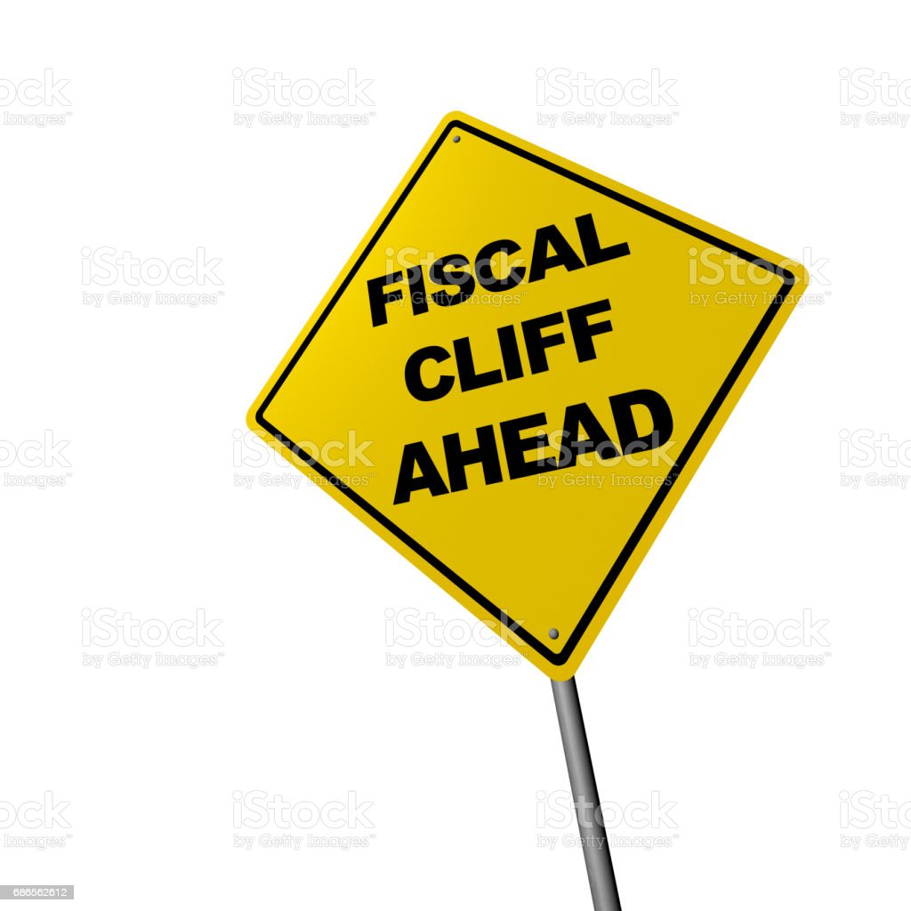 Fiscal Cliff Ahead - Road Warning Sign stock photo