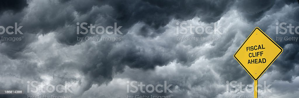 Fiscal Cliff Road Sign stock photo