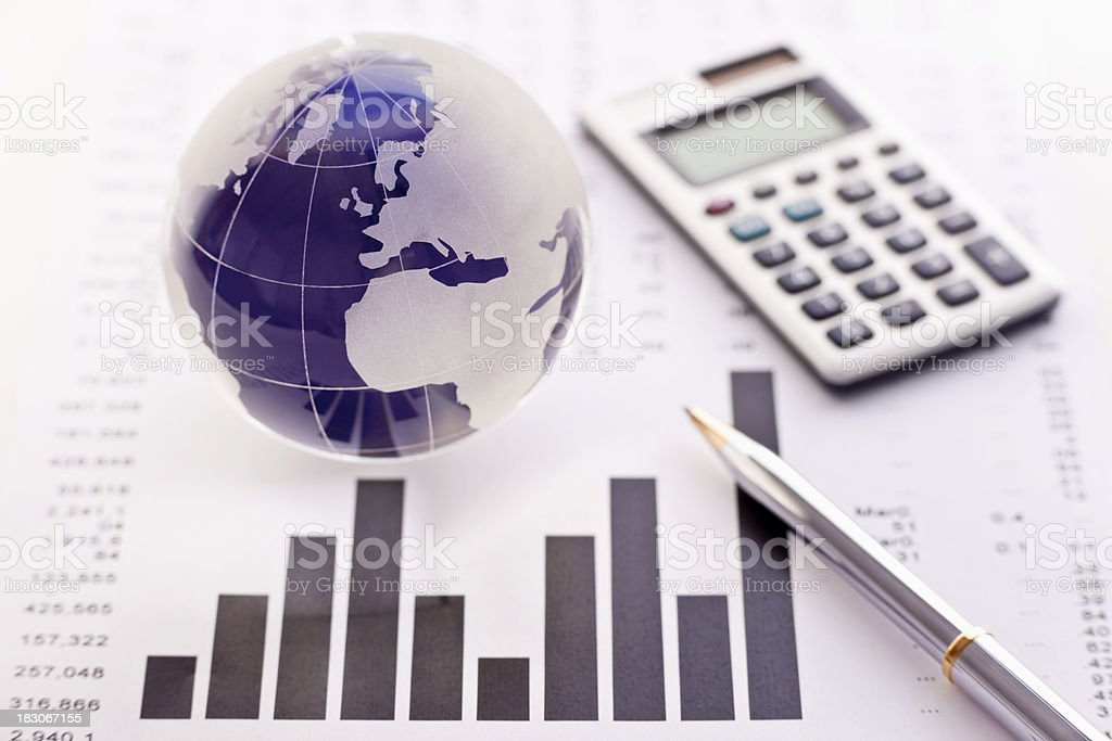 Fiscal Report and Globalization royalty-free stock photo