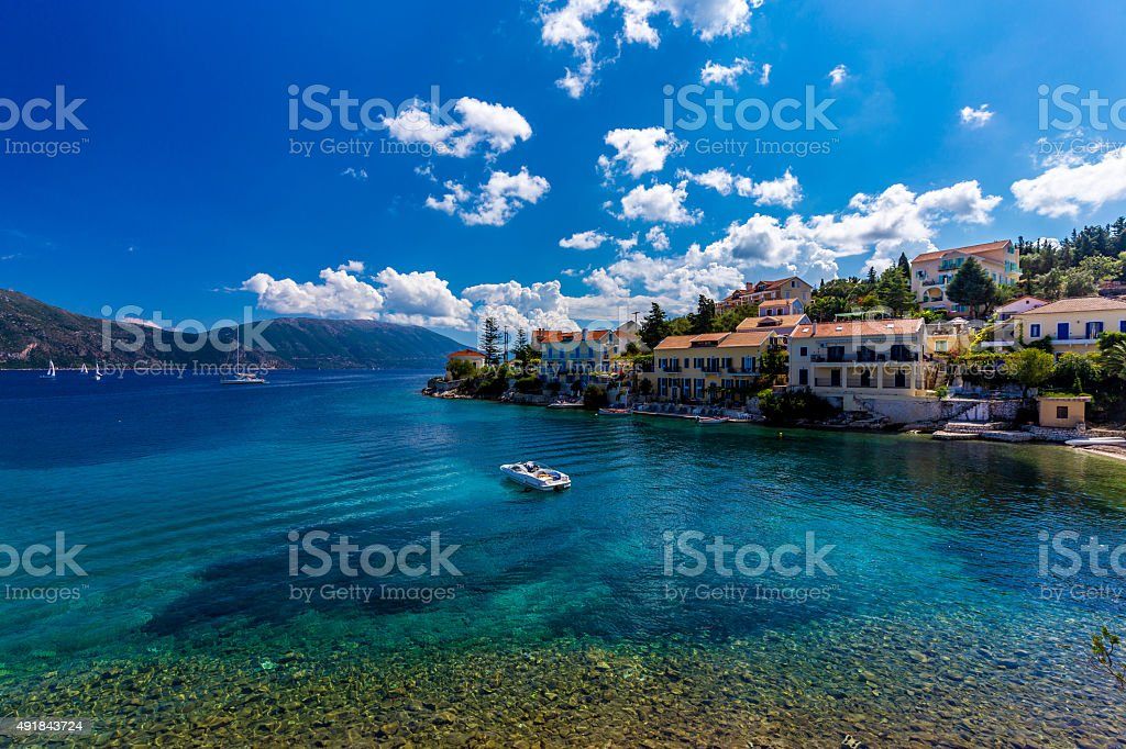 Fiscardo on the Island of Kefalonia in Greece stock photo