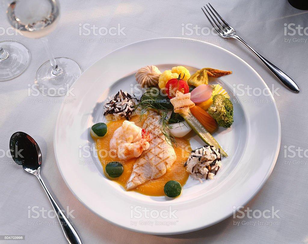 Fisch_Skampi Menue stock photo