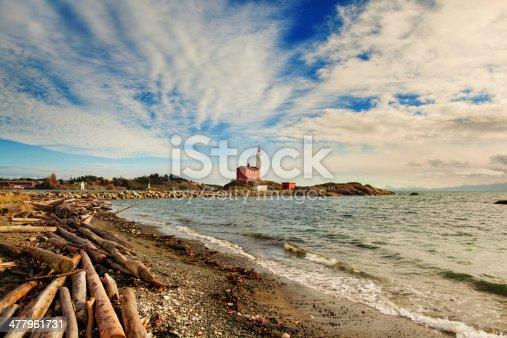 Fisgard lighthous in British Columbia in Canada, blue sky, sunny, ocean