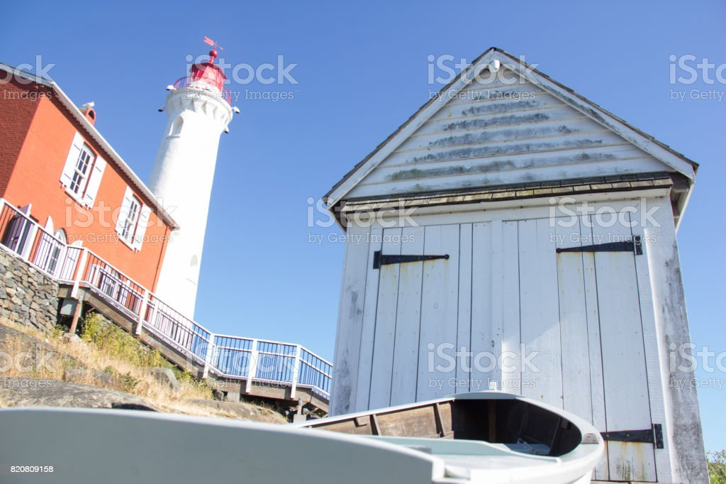 Fisgard Lighthouse And Boat Shed Stock Photo Download