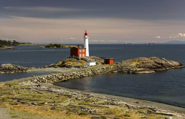 Fisgard Lighthouse Canadian National Historic Site Victoria British Columbia stock photo