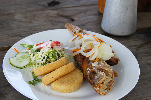 fish and barmy - caribbean food stock photos and pictures