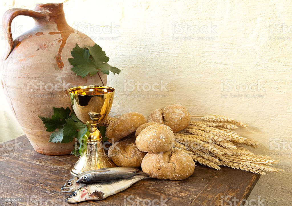Fish and bread of Jesus royalty-free stock photo