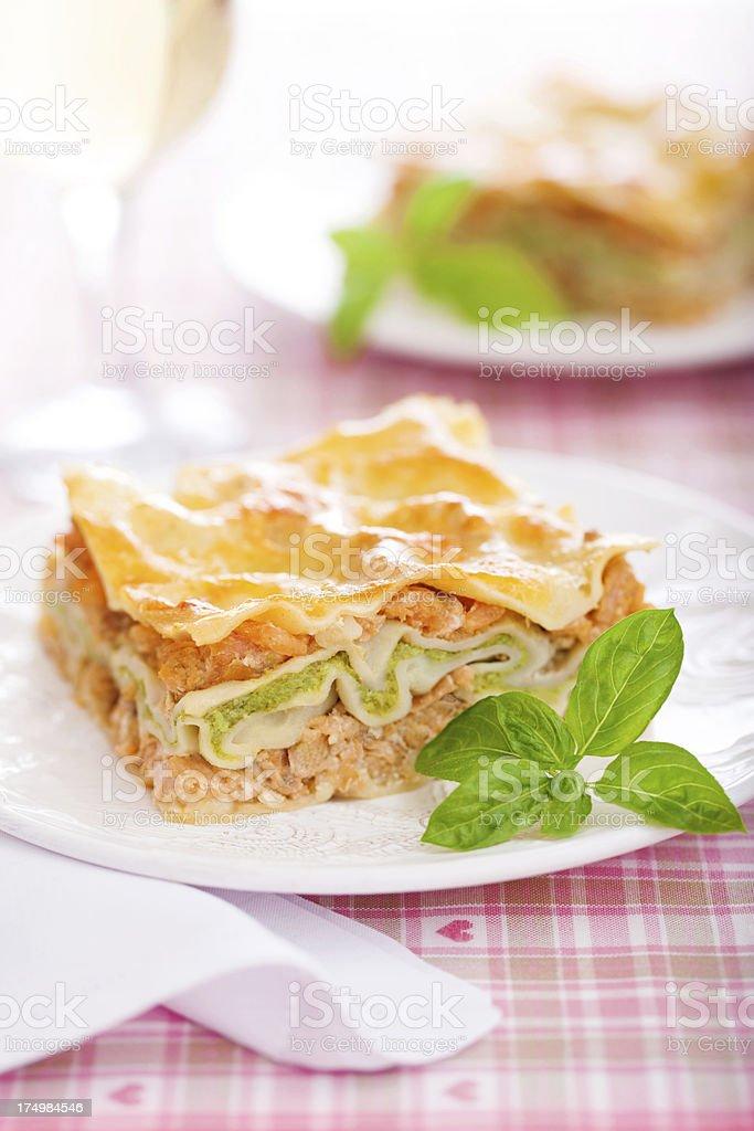 Fish and broccoli lasagna royalty-free stock photo