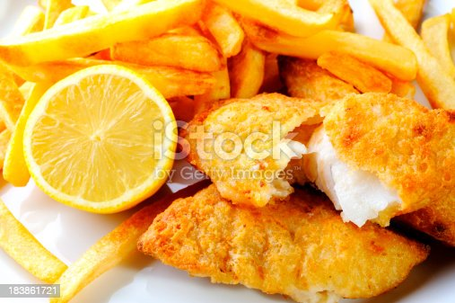 Fried Fish with French Fries.
