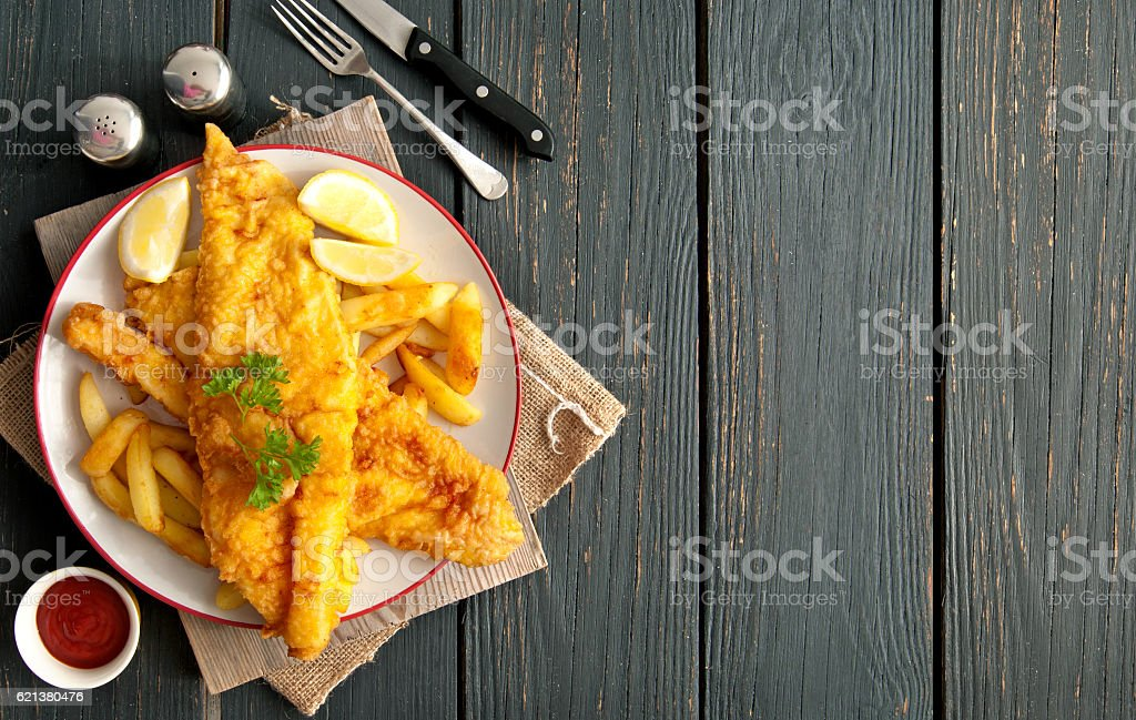 Fish and chips background​​​ foto