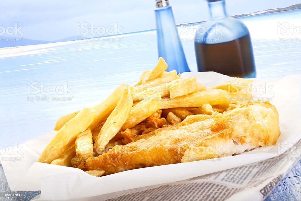 Fish and Chips by the sea royalty-free stock photo