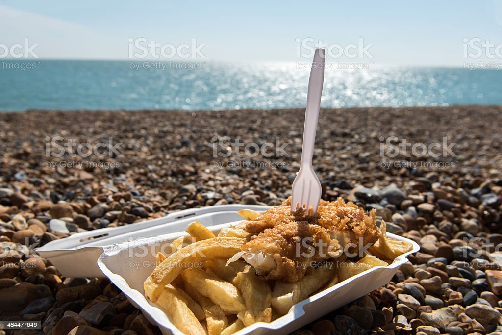 Fish and Chips by the sea stock photo
