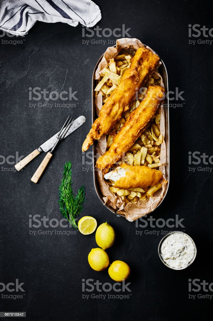 Fish and chips classic british food stock photo