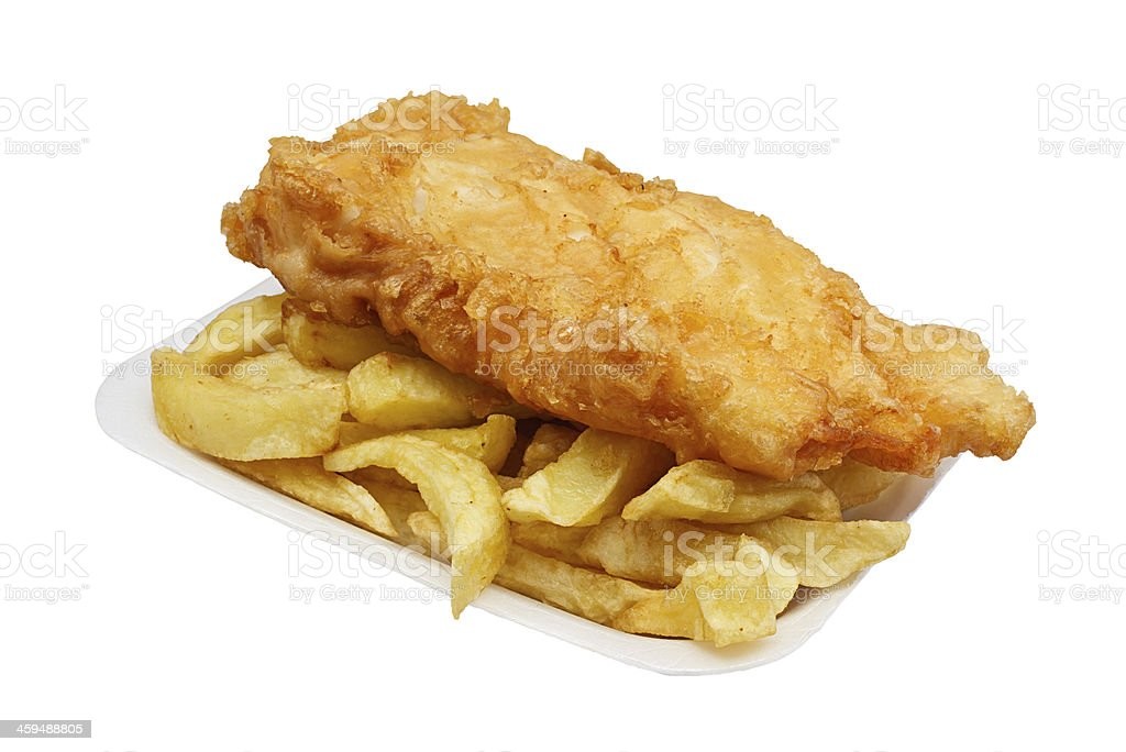 fish and chips in tray stock photo