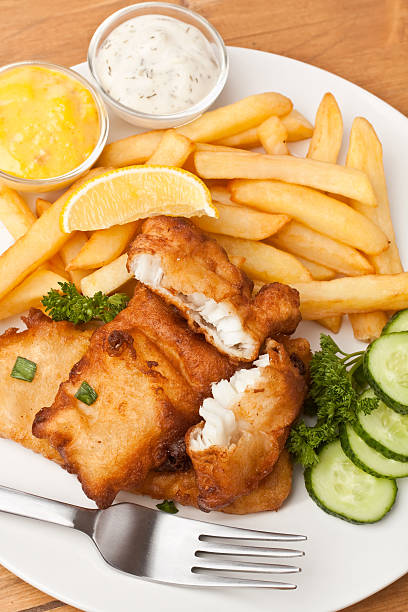 Fish and chips on a plate stock photo
