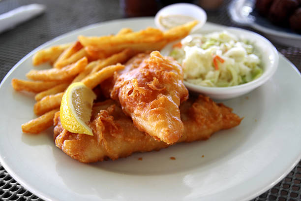 fish and chips - coleslaw stock pictures, royalty-free photos & images